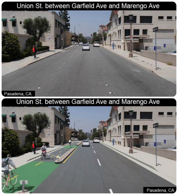Before/after images of Pasadena's planned Union Street two-way protected bikeway. Images via Pasadena DOT