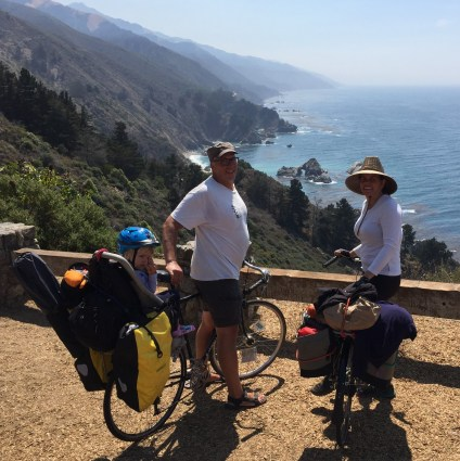 My daughter, wife and I bike touring in Big Sur