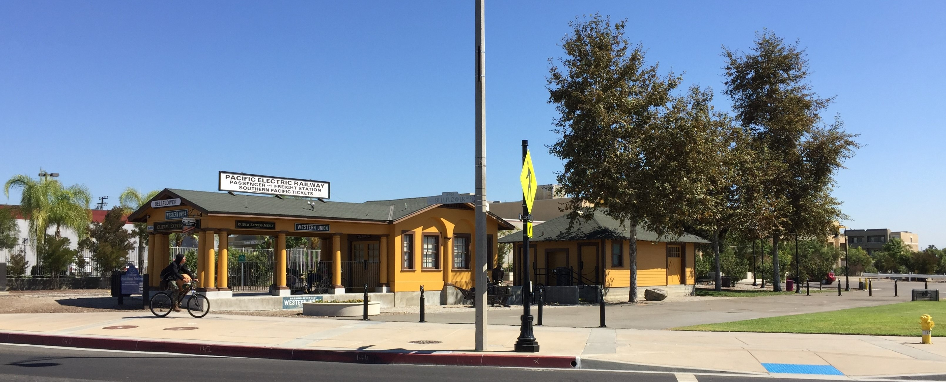 The historic PE West Santa Ana Branch railway station still stands in Bellflower. Photos by Joe Linton/Streetsblog L.A.