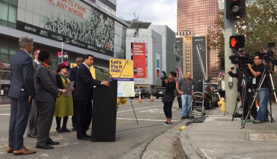 Councilmember Jose Huizar celebrates breaking ground for L.A.'s longest protected bike lane