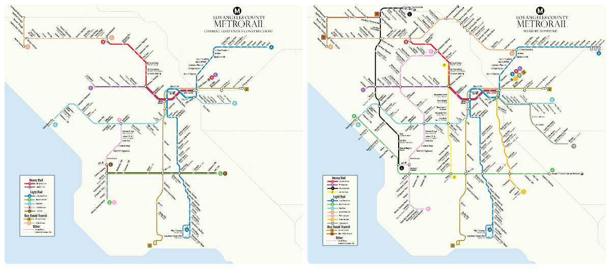 Los Angeles County S Measure M Would Add 100 Miles Of Rail And 65 Miles Of Brt Maps By Adam Linder