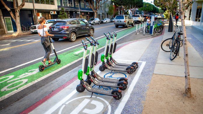 Santa Monica Installs In Street E Scooter Parking Corrals