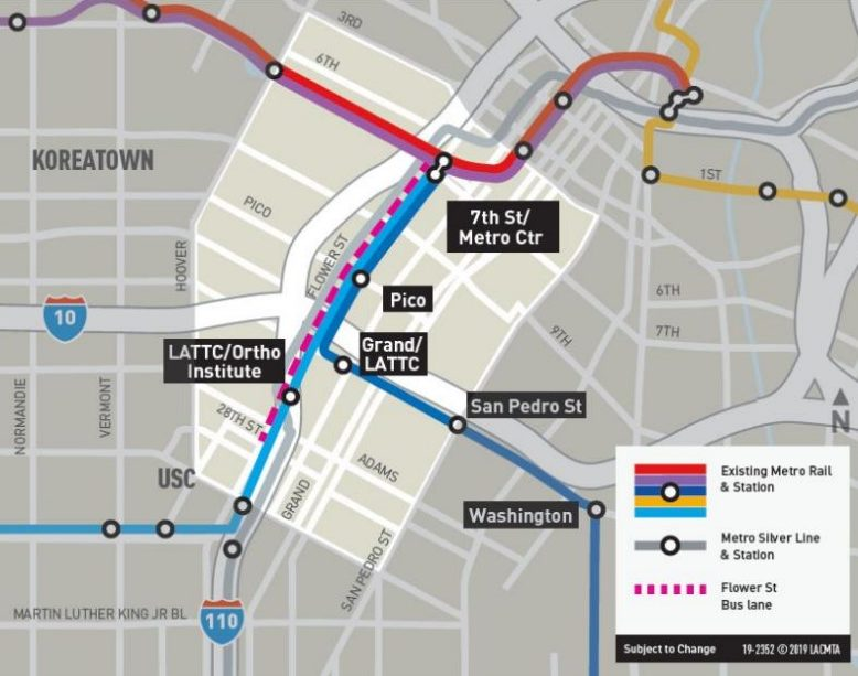 New Blue's Flower Street southbound evening peak-hour bus-only lane