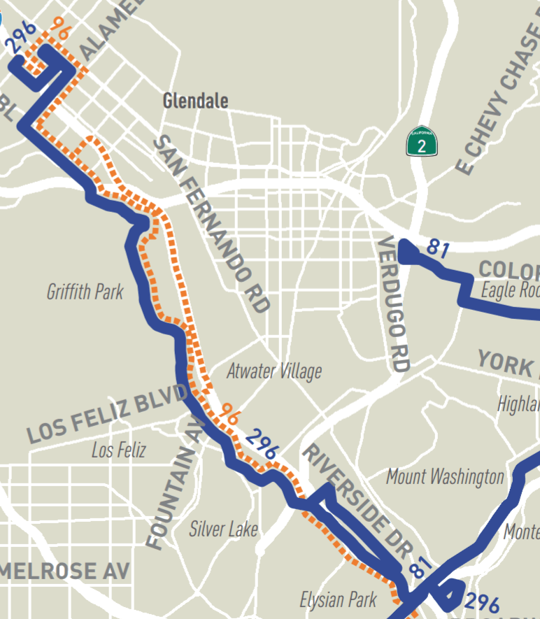 Map of new route 296, from NextGen plan