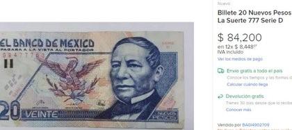 Por qué este billete de 20 pesos se vende hasta más de 80,000 pesos