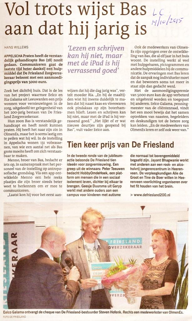 Prijsuitreiking De Friesland 14 okt 2015-1