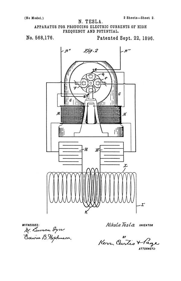 Tesla Patent 568,176