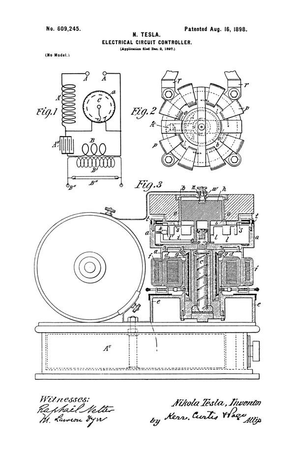 Tesla Patent 609,245