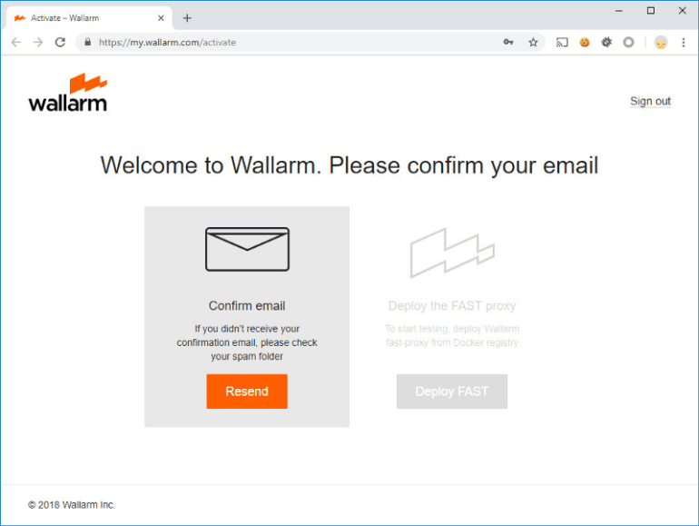 Wallarm welcome page