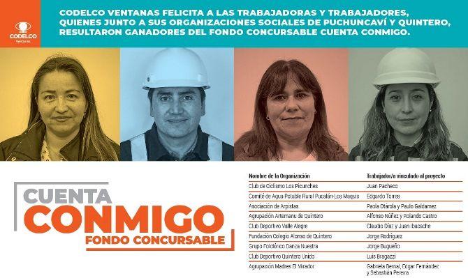 Fondo Concursable Cuenta Conmigo de Codelco Ventanas presentados por trabajadores y la comunidad, el cual busca apoyar a organizaciones sociales y comunitarias de las comunas de Puchuncaví y Quintero