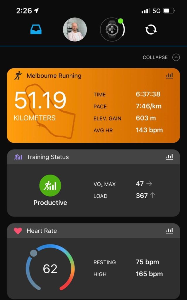 Running stats from Laban's 50 km run