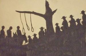 Dibujo para la película Incidente en Ox Bow (1943), con fotografía de Arthur Miller.