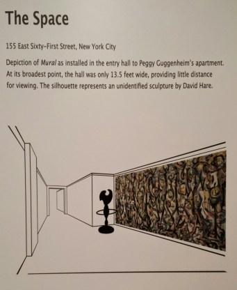 """Esquema de la entrada de la casa de Peggy Guggenheim y cómo estaría expuesto """"Mural"""" (1943). Fuente: History by bycicle."""