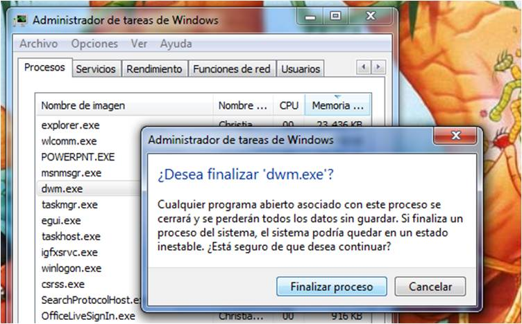Matar Proceso Aero - Windows 7 (3/6)