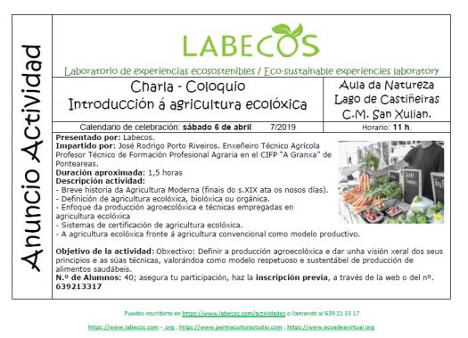 Anuncio Actividad Introduccion Agricultura Ecoloxica 1 - Charla - Coloquio Introducción á agricultura ecolóxica