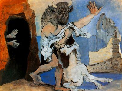 """""""Le minotaure et jument mort devant une grotte"""" (1936)de Pablo Picasso"""