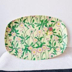 Groene bloemen print rechthoekig melamine bord - Rice