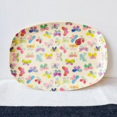 Vlinder print rechthoekig melamine bord - Rice