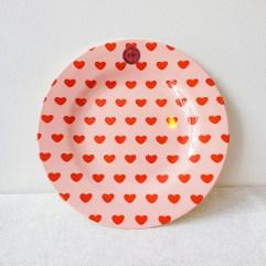 Hartjes print rond melamine bord - Rice