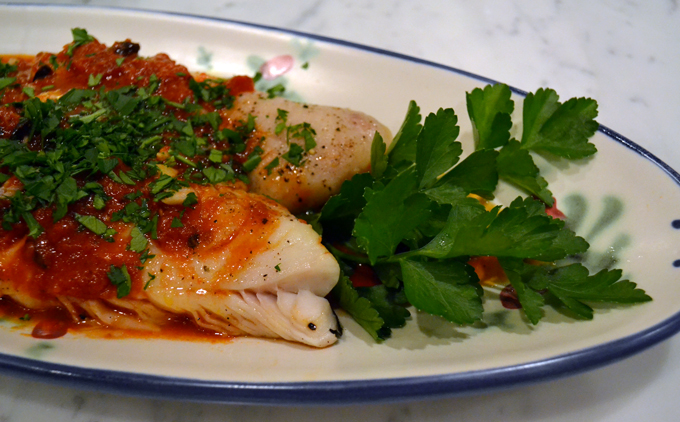 Fish with Puttanesca Sauce | labellasorella.com