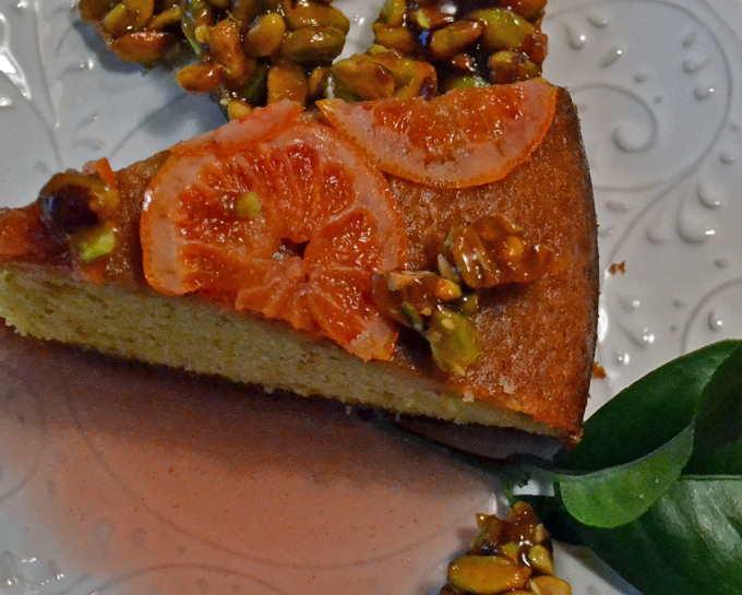 Pistachio Torta with Candied Blood Orange Slices & Pistachio Brittle | labellasorella.com