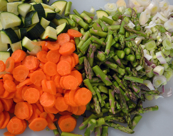 The vegetables for Summer Vegetable Soup should be uniform in size to insure proper cooking | labellasorella.com