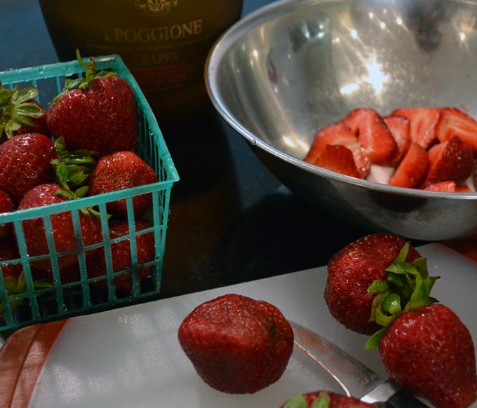 Macerating the strawberries for Summer Celebration Cake | labellasorella.com