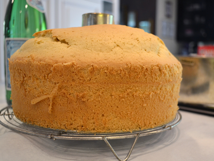 The baked almond chiffon cake removed from the pan | labellasorella.com
