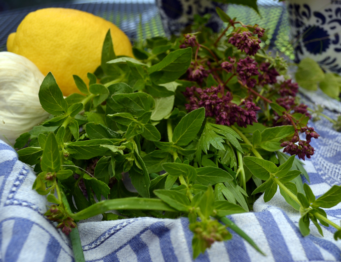 Fresh-herbs, garlic & lemon to accompany the grilled tuna | labellasorella.com