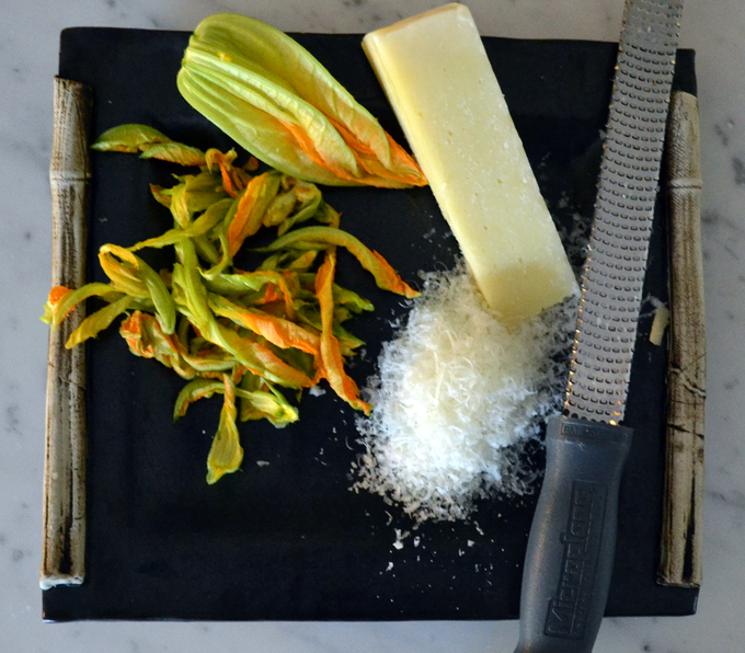 Essential ingredients for Bucatini with Zucchini, Lemon & Pecorino: pecorino & zucchini blossoms | labellasorella.com
