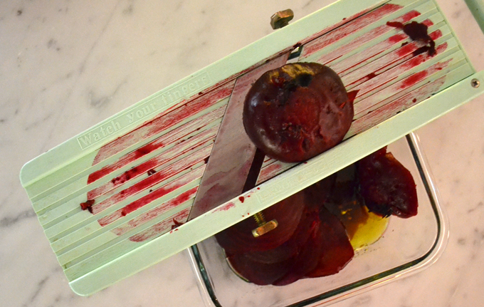 Thinly slicing the beets with a Japanese slicer but a sharp knife will do just as well | labellasorella.com