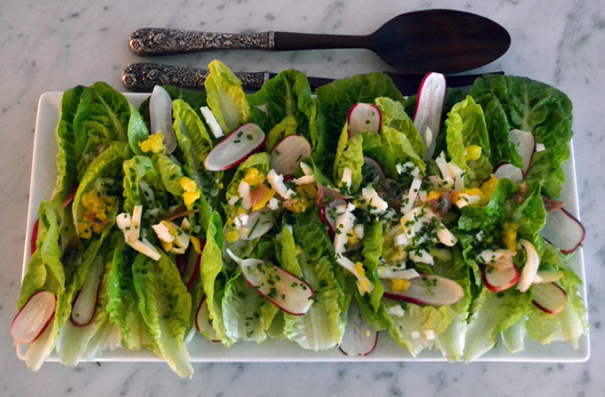 Baby Gem Salad with Anchovy Dressing | labellasorella.com