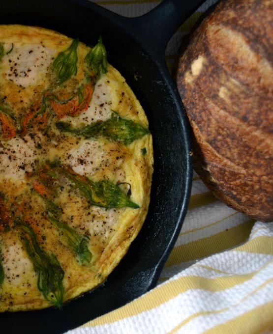 Frittata of Zucchini Flowers & Ricotta | labellasorella.com
