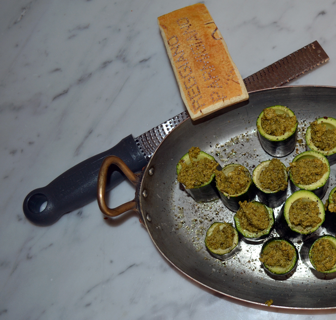 Zucchini towers filled with pesto, just waiting for a grating of Parmigiano | labellasorella.com