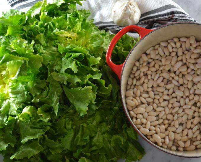 The soaked beans and fresh escarole | labellasorella.com