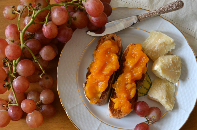 Butternut Squash Jam on toasted bread with Parmigiano | labellasorella.com