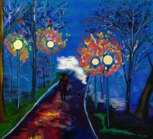 automne soir marche lune art