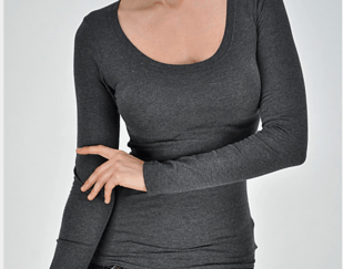 Basic long sleeve tee in dark grey