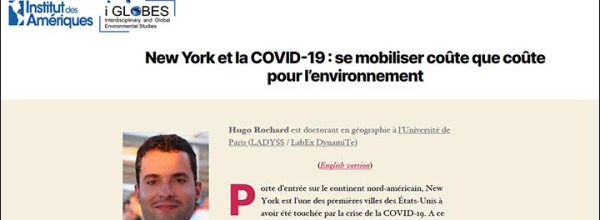 « New York et la COVID-19 » : un article signé Hugo ROCHARD