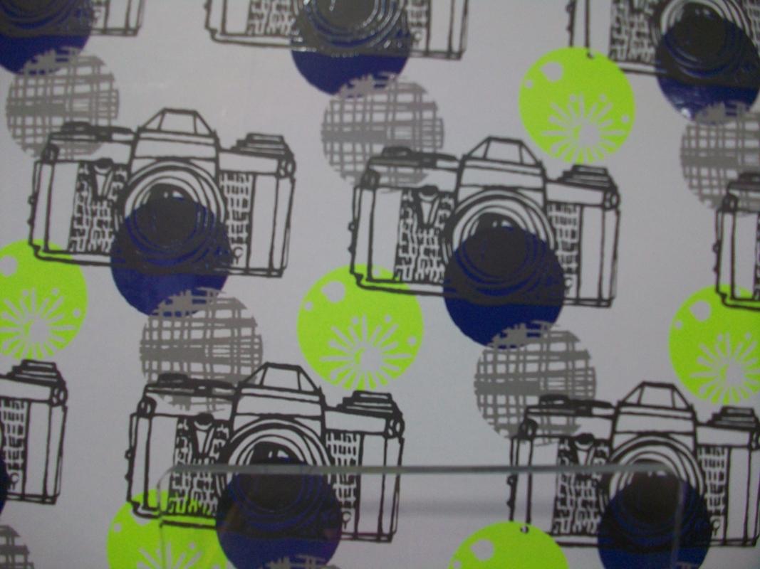 A pocket folder with camera pattern