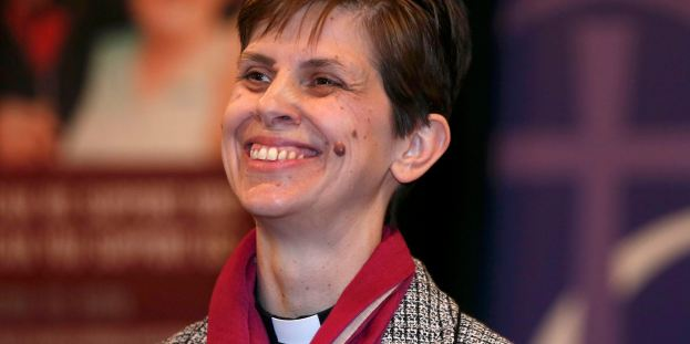 Libby Lane, a suffragan (Assistant) bishop in the Diocese of Chester, smiles as her forthcoming appointment as the new Bishop of Stockport is announced in the Town Hall in Stockport