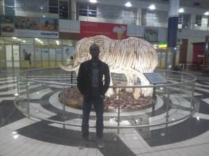 Labi Francis inside Seretse Khama International Airport