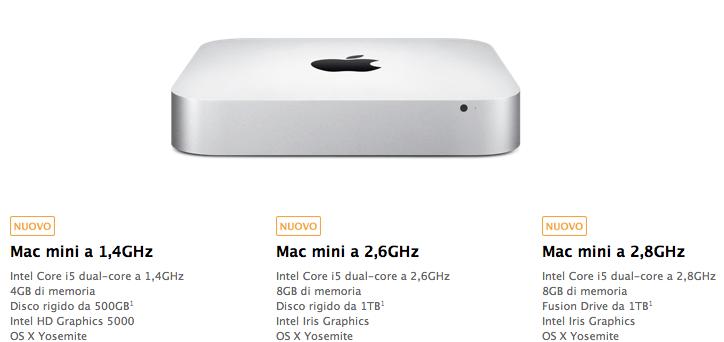 Piccolo aggiornamento dei Mac mini