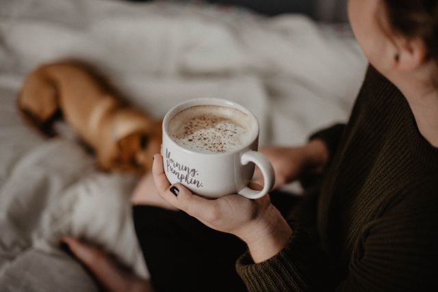 Sip hot choco in bed