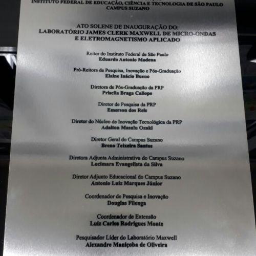 Placa de Inauguração do Labmax.