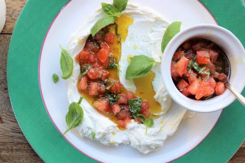 labneh, tomato, olive oil, basil