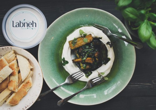 Labneh with baked zucchini and flatbread