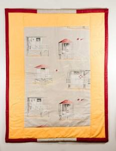 Plaid de plage_Les cabanes_Fond jaune uni & tour rouge mastic (copier)