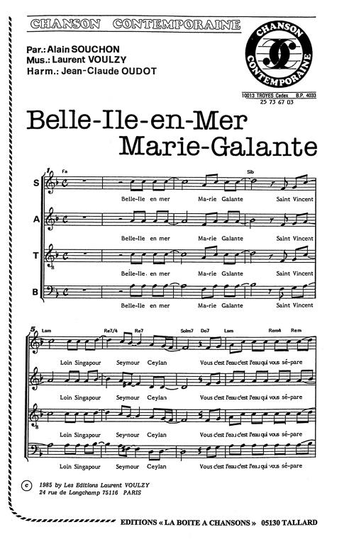 Belle Ile En Mer Parole : belle, parole, Partition, Musique,, éditeur, Partitions, Chorale