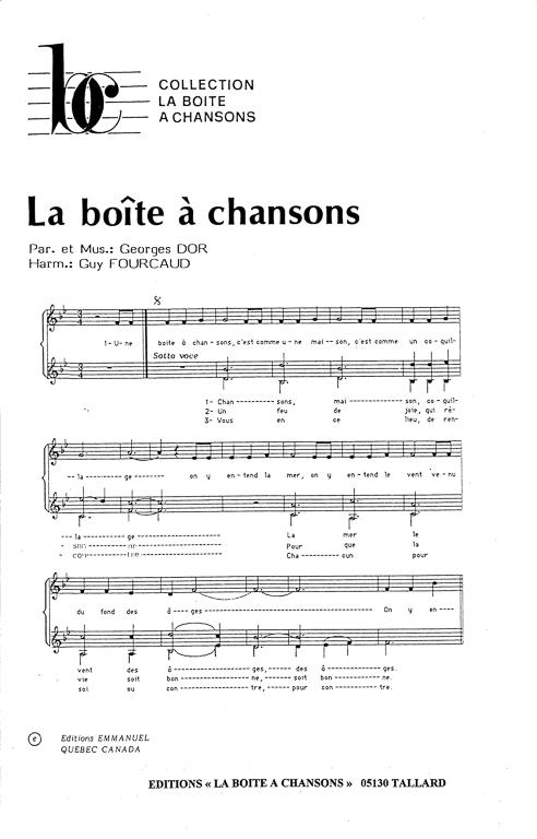 La Boite à Chanson : boite, chanson, Partition, Musique,, éditeur, Partitions, Chorale